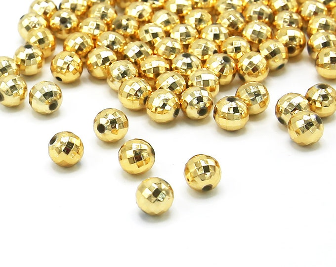 8mm Acrylic Spacer Beads Gold Color Plated Faceted Round 100 Pcs Wholesale
