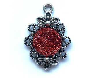2 Pieces Antique Silver Plated Wine Red AB Faux Druzy Agate Bezel Charm Flower Pendant