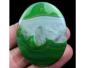 Green Druzy Geode Agate Pendant Focal Bead 48x38x6mm