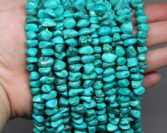 Blue Turquoise Nuggets Beads | Natural Gemstone Loose Beads | Sold by Strand | Size 9-16mm | Hole 0.8mm