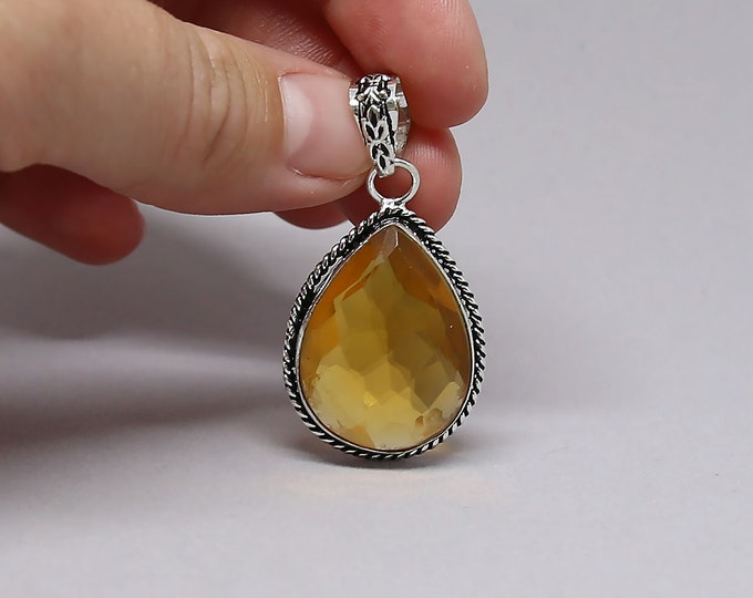 Natural Faceted Citrine Gemstone Vintage Style 925 Sterling Silver Pendant Focal Bead