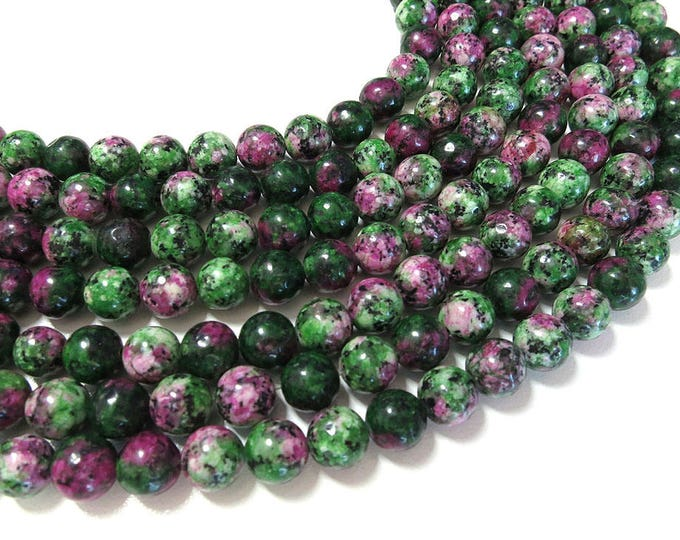 Ruby in Zoisite Beads | Round Natural Gemstone Loose Beads | Sold by Strand | 4mm 6mm 8mm 10mm 12mm
