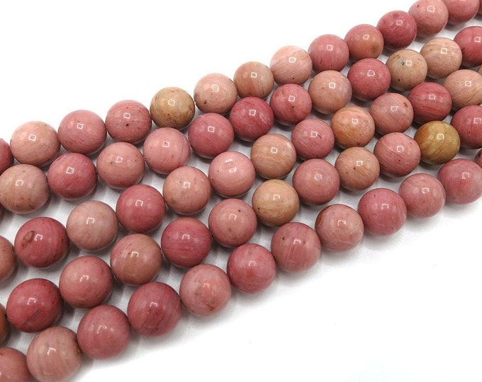 Rhodochrosite Beads | Grade A | Round Natural Gemstone Beads | Sold by 15 Inch Strand | Size 4mm 6mm 8mm 10mm