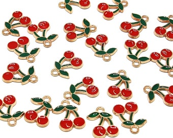 5 Pcs Red Cherry Gold Color Zinc Alloy Enamel Pendant Charm DIY PALLOY-N0118-260