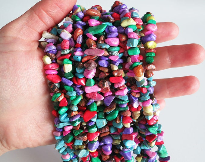 Multicolor Turquoise Chips Nuggets Natural Gemstone Jewelry Beads Full Strand 33""