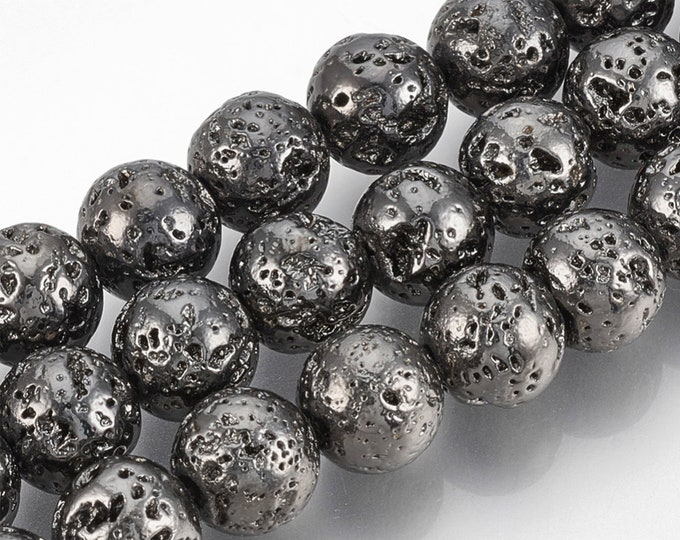 Lava Beads | Black Color Plated Beads | Round Natural Gemstone Beads | Sold by 15 Inch Strand | Size 8-9mm