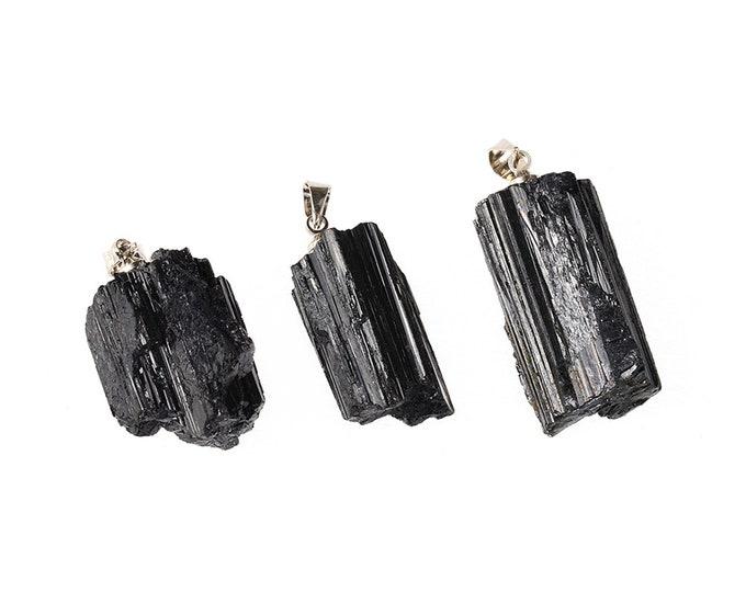 Black Tourmaline Pendant | Raw Tourmaline Schorl | Silver Bail | Sold Individually | Size 18~20x25~30MM | Hole 3x5mm