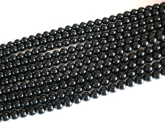 Black Onyx Agate Beads | Round Natural Gemstone Loose Beads | Sold by Strand | 4mm 6mm 8mm 10mm 12mm 14mm 16mm
