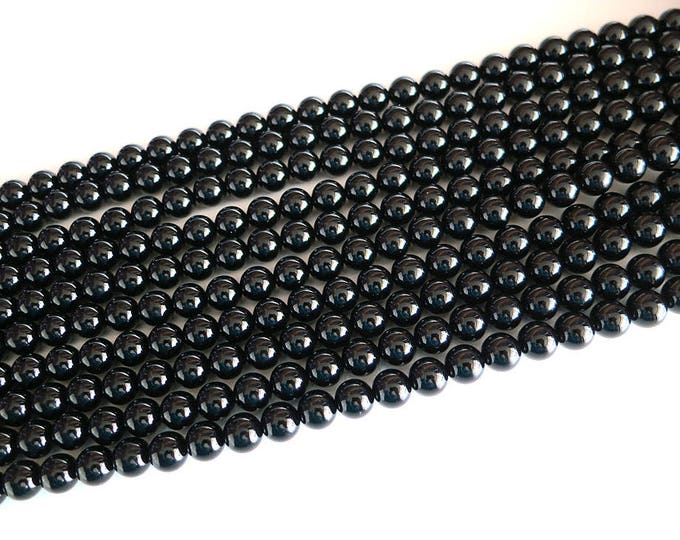 "Black Onyx Agate Beads 4mm 6mm 8mm 10mm 12mm 14mm 16mm Round Polished Natural Gemstone Loose 15.5"" Full Strand Wholesale"