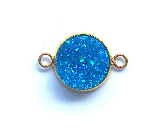 2 Piece Druzy Agate Connector | Gold Plated Connector | Blue Faux Druzy Connector | Size 20x12mm