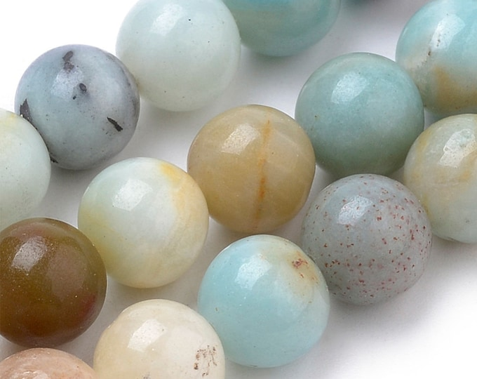 Amazonite Beads | Round Natural Gemstone Loose Beads | Sold by Strand | Size 4mm 6mm 8mm 10mm 12mm 14mm