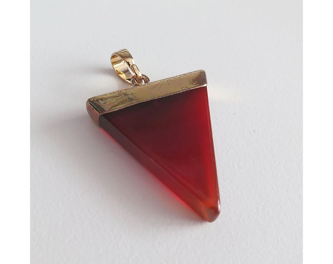 Red Agate Pendant | Triangle | Gold Edged | Brass Bail | Natural Gemstone Pendant | Sold Individually | Size 27x43mm