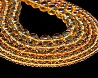 Citrine Beads | Grade AAA | Round Natural Gemstone Loose Beads | Sold by Strand | Size 4mm 6mm 8mm 10mm 12mm 14mm