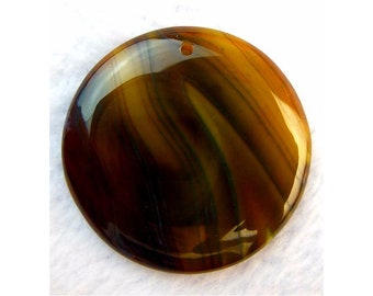 Beautiful Natural Brown Clear Stripes Agate Round Gemstone Focal Bead 41x5mm B09533