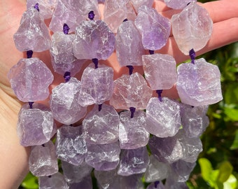 Natural Amethyst Nuggets Beads   Drilled Raw Natural Gemstone Loose Beads   Sold by 7 Inch Strand   Size 16-20x23-28x8-15mm