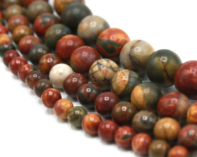 Picasso Jasper Beads | Round Natural Gemstone Polished Loose Beads | Sold by Strand | Size 6mm 8mm 10mm 12mm