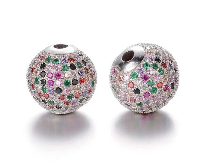Cubic Zirconia Micro Pave Brass Round Bead | Multi Color Crystal | Platinum Color | Sold Individually | Size 10mm | Hole 2mm