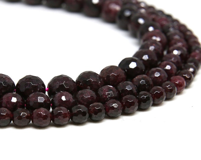 Red Garnet Beads | Faceted Round Natural Gemstone Loose Beads | Sold by Strand | 6mm 8mm 10mm