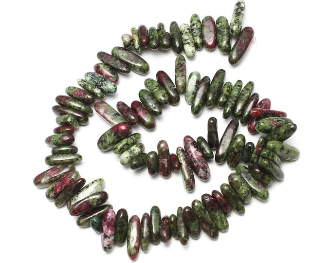 Ruby in Zoisite Chips Nuggets Natural Gemstone Jewelry Beads Polished Full Strand 15.5""