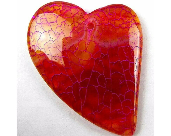 Red Fire Agate Heart Gemstone Pendant Focal Bead 40x35x6mm B83341