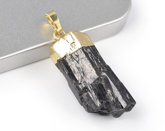 Black Tourmaline Pendant | Raw Tourmaline Schorl | Gold Edged | Sold Individually | Size 17x42mm | Hole 3x5mm