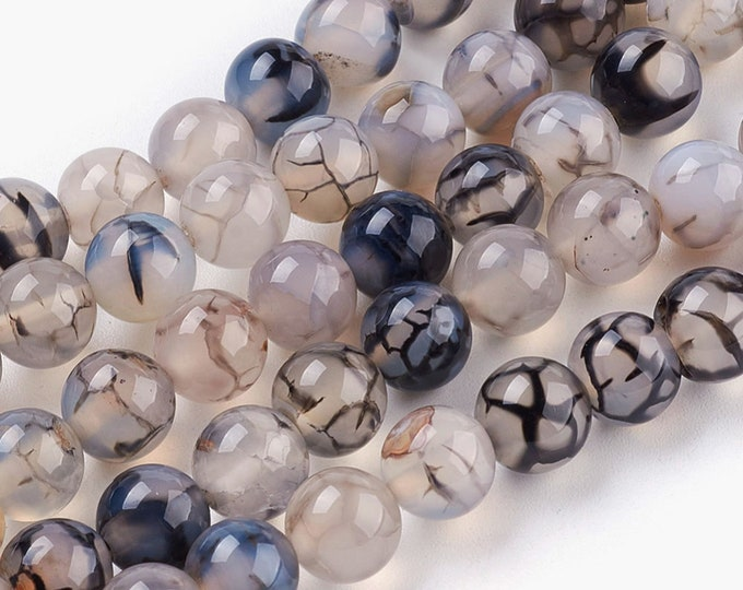 Agate Beads | Dragon Veins | Polished Round Natural Gemstone Beads | Sold by 15 Inch Strand | Size 8mm 10mm