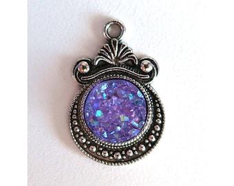 2 Pieces Antique Silver Plated Purple AB Faux Druzy Agate Bezel Charm Pendant