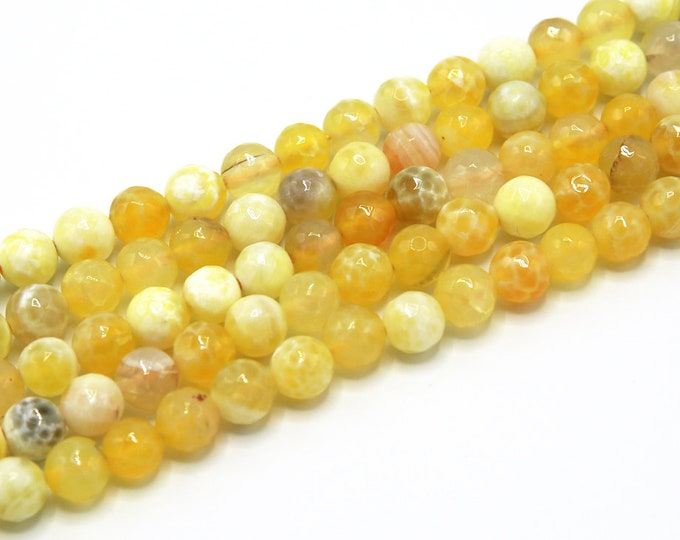 Fire Agate Beads | Yellow White | Faceted Round Natural Gemstone Loose Beads | Sold by Strand | Size 8mm 10mm