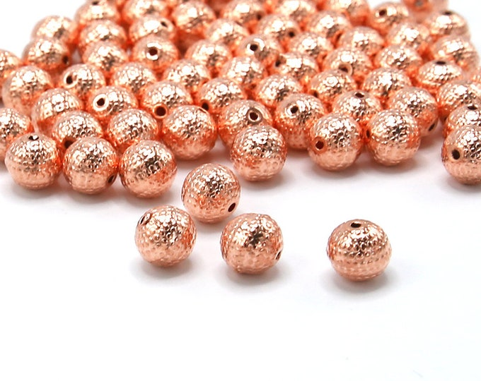 9mm Acrylic Spacer Beads Rose Gold Color Plated Faceted Round 20 Pcs Wholesale