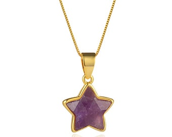 Faceted Amethyst Star Pendant Necklace   18K Gold Plated Brass Chain   Lobster Clasp   Chain Length 18 Inch   Pendant Size 12mm