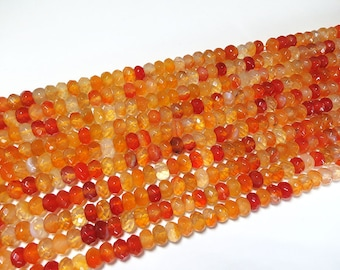 5x8mm Red Agate Dyed Faceted Rondelle Beads Gemstone Loose 15'' Full Strand