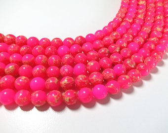 8mm Pink Sea Sediment Jasper Beads Round Imperial Impression Stone Synthetic Gemstone Loose 15'' Full Strand Wholesale