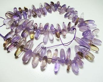 Purple Yellow Ametrine Chips Nuggets Natural Gemstone Jewelry Beads Full Strand 15.5""