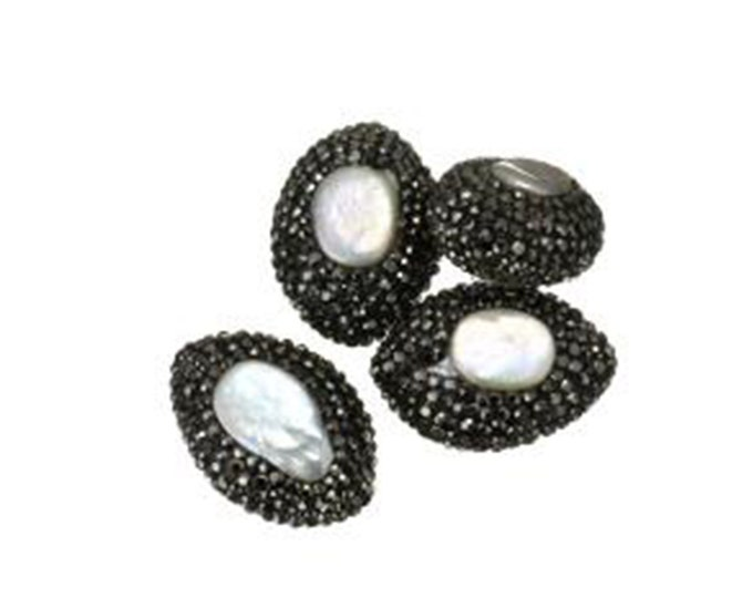 Freshwater Pearl Rhinestone Clay Pave Bead | Large Gemstone Loose Bead | Sold Individually | Size 20x28x14mm | Hole 1mm