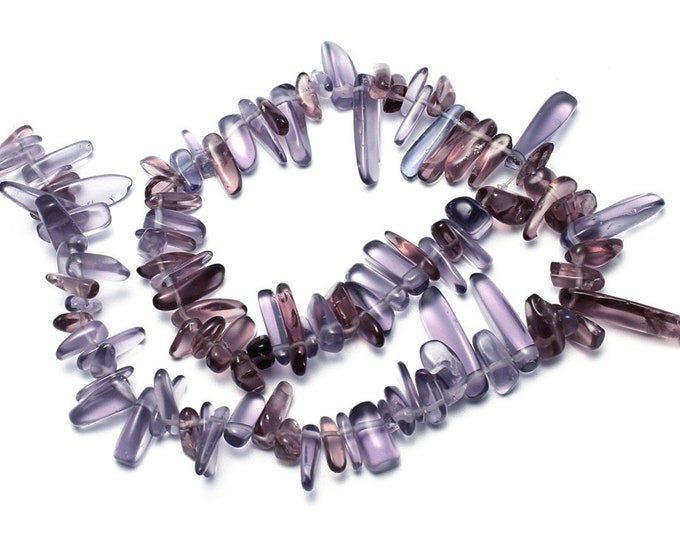 Amethyst Nuggets Beads | Synthetic Gemstone Loose Beads | Sold by Strand | Size 6x13x4mm-6x27x5mm | Hole 1mm