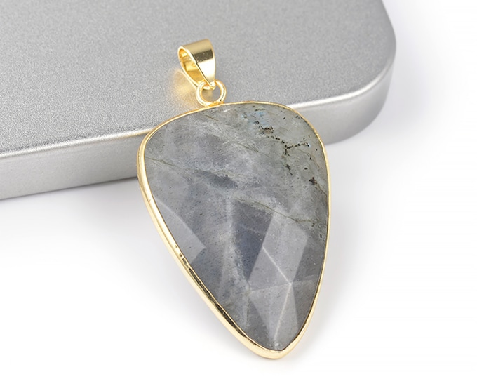 Labradorite Arrow Pendant | Gold Plated Brass | Grade A | Faceted Natural Loose Gemstone Pendant | Sold Individually | Size 26x40mm