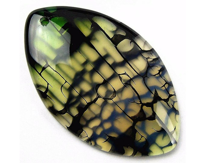 Brown Green Dragon Veins Agate Horse Eye Gemstone Pendant Focal Bead 50x31x6mm B83267