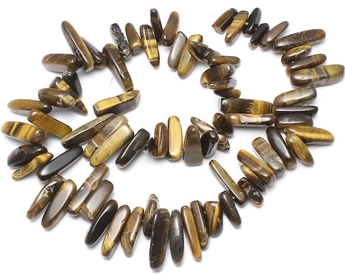 Tiger Eye Chips Nuggets Natural Gemstone Jewelry Beads Polished Full Strand 15.5""