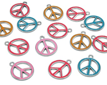 1 Pc Large Peace Sign Zinc Alloy Enamel Pendant Charm DIY ENAM-P066-M
