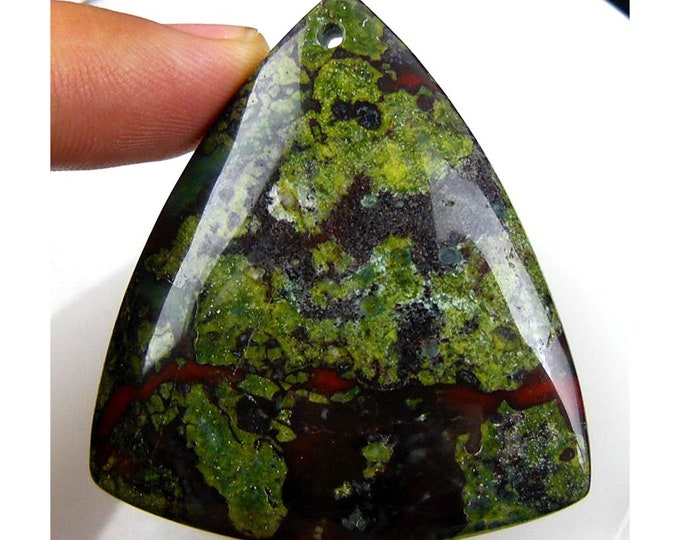 Natural Dragon Blood Triangle Gemstone Pendant Focal Bead 47x42x6mm C25809