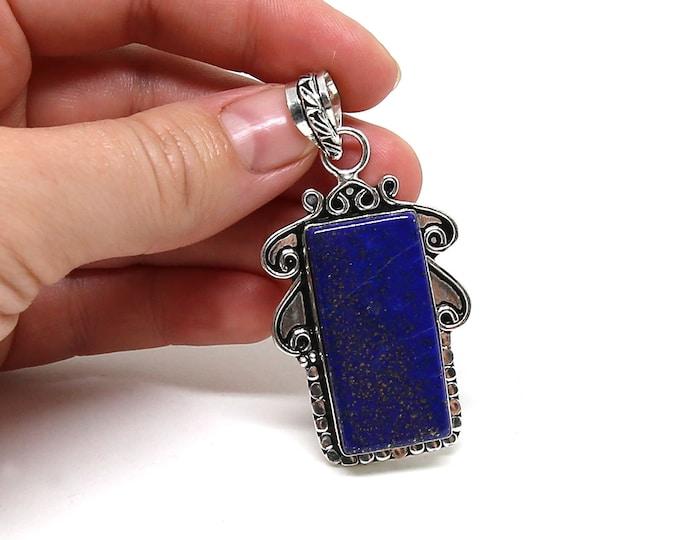 Natural Lapis Lazuli Vintage Style .925 Solid Sterling Silver Pendant