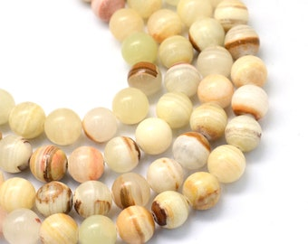 Jade Beads   Light Green White   Round Natural Gemstone Beads   Sold by 15 inch Strand   Size 6mm 8mm 10mm 12mm