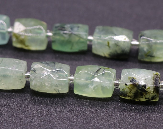 Natural Prehnite Beads | Grade AAA | Faceted Barrel Accent Gemstone Loose Beads | Sold by Pkg of 2 Beads | Size 15~17mm | Hole 1-1.5mm