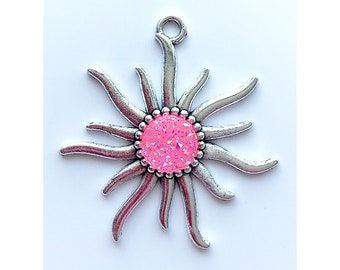 Sun Pendant | Pink AB Faux Druzy Agate Charm | Silver Color Plated | Sold by Piece | Size 55x50mm | Hole 4mm