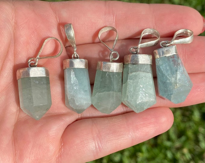 Natural Aquamarine Gemstone Pendant with Sterling Silver Bail | Sold Individually | Size 22-24x10-12mm | Hole 5mm