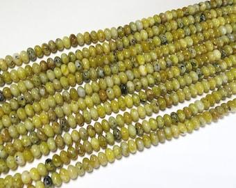5x8mm Yellow Turquoise Polished Rondelle Beads Gemstone Loose 15'' Full Strand