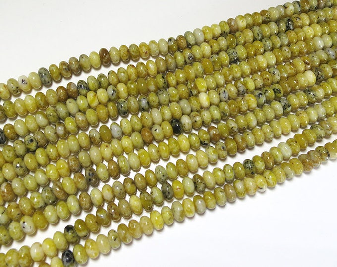 Yellow Turquoise Rondelle Beads | Grade A | Natural Gemstone Loose Beads | Sold by 15 Inch Strand | Size 5x8mm