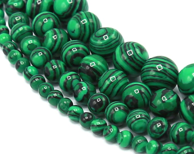 Green Malachite Beads | Round Synthetic Gemstone Loose Beads | Sold by Strand |  Size 4mm 6mm 8mm 10mm 12mm 14mm