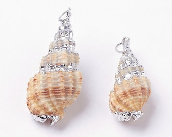 Natural Sea Shell Pendant | Silver Plated Conch Shell | Sold Individually | Size 24~45x14~20x12~18mm