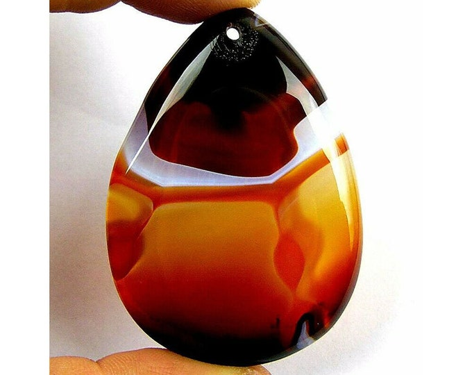 Brown Stripes Agate Teardrop Gemstone Pendant Focal Bead 55x39x6mm B83648